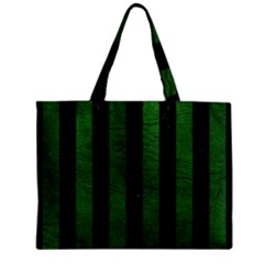 Stripes1 Black Marble & Green Leather Zipper Mini Tote Bag