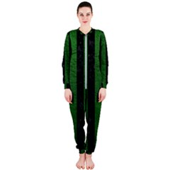 Stripes1 Black Marble & Green Leather Onepiece Jumpsuit (ladies)