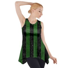 Stripes1 Black Marble & Green Leather Side Drop Tank Tunic