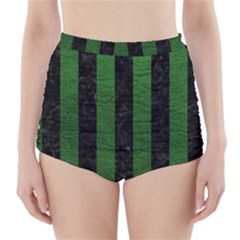 Stripes1 Black Marble & Green Leather High Waisted Bikini Bottoms