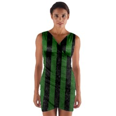 Stripes1 Black Marble & Green Leather Wrap Front Bodycon Dress