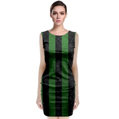 Stripes1 Black Marble & Green Leather Classic Sleeveless Midi Dress