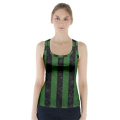 Stripes1 Black Marble & Green Leather Racer Back Sports Top