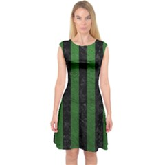 Stripes1 Black Marble & Green Leather Capsleeve Midi Dress