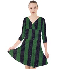 Stripes1 Black Marble & Green Leather Quarter Sleeve Front Wrap Dress