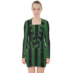 Stripes1 Black Marble & Green Leather V Neck Bodycon Long Sleeve Dress