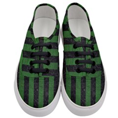 Stripes1 Black Marble & Green Leather Women s Classic Low Top Sneakers