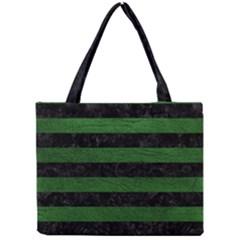 Stripes2 Black Marble & Green Leather Mini Tote Bag