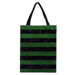 Stripes2 Black Marble & Green Leather Classic Tote Bag