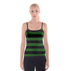 Stripes2 Black Marble & Green Leather Spaghetti Strap Top