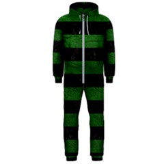 Stripes2 Black Marble & Green Leather Hooded Jumpsuit (men)