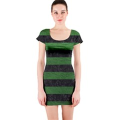 Stripes2 Black Marble & Green Leather Short Sleeve Bodycon Dress