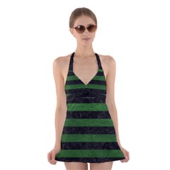 Stripes2 Black Marble & Green Leather Halter Swimsuit Dress