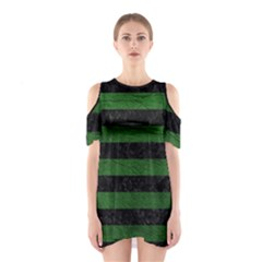 Stripes2 Black Marble & Green Leather Shoulder Cutout One Piece