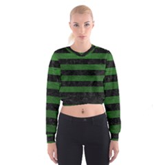 Stripes2 Black Marble & Green Leather Cropped Sweatshirt