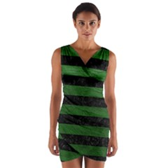 Stripes2 Black Marble & Green Leather Wrap Front Bodycon Dress
