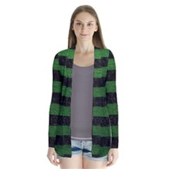 Stripes2 Black Marble & Green Leather Drape Collar Cardigan