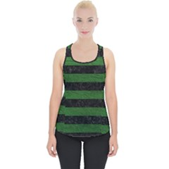 Stripes2 Black Marble & Green Leather Piece Up Tank Top