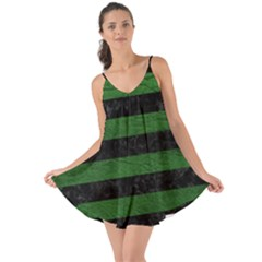 Stripes2 Black Marble & Green Leather Love The Sun Cover Up
