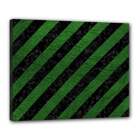 Stripes3 Black Marble & Green Leather Canvas 20  X 16