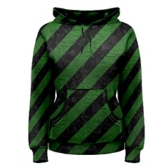 Stripes3 Black Marble & Green Leather Women s Pullover Hoodie