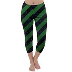 Stripes3 Black Marble & Green Leather Capri Winter Leggings