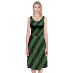 Stripes3 Black Marble & Green Leather Midi Sleeveless Dress