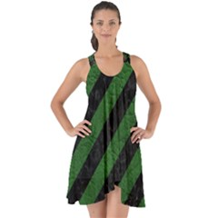 Stripes3 Black Marble & Green Leather Show Some Back Chiffon Dress