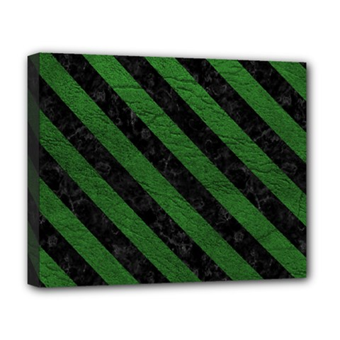 Stripes3 Black Marble & Green Leather (r) Deluxe Canvas 20  X 16