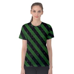 Stripes3 Black Marble & Green Leather (r) Women s Cotton Tee