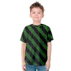 Stripes3 Black Marble & Green Leather (r) Kids  Cotton Tee