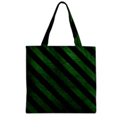 Stripes3 Black Marble & Green Leather (r) Zipper Grocery Tote Bag