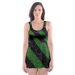 Stripes3 Black Marble & Green Leather (r) Skater Dress Swimsuit