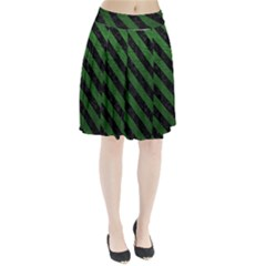 Stripes3 Black Marble & Green Leather (r) Pleated Skirt