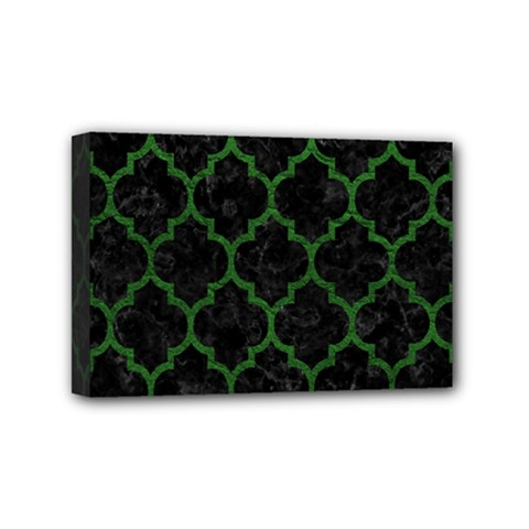 Tile1 Black Marble & Green Leather Mini Canvas 6  X 4