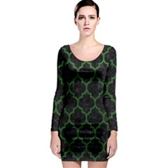 Tile1 Black Marble & Green Leather Long Sleeve Bodycon Dress