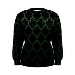 Tile1 Black Marble & Green Leather Women s Sweatshirt