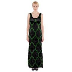 Tile1 Black Marble & Green Leather Maxi Thigh Split Dress