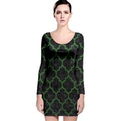 Tile1 Black Marble & Green Leather Long Sleeve Velvet Bodycon Dress