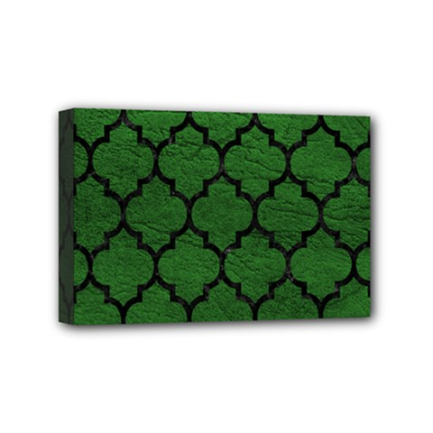 Tile1 Black Marble & Green Leather (r) Mini Canvas 6  X 4