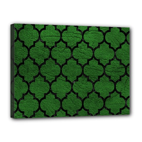 Tile1 Black Marble & Green Leather (r) Canvas 16  X 12