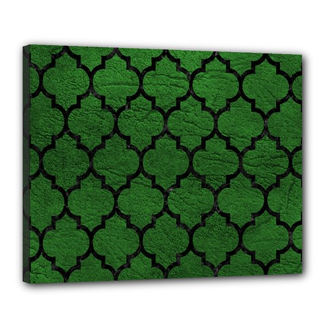 Tile1 Black Marble & Green Leather (r) Canvas 20  X 16