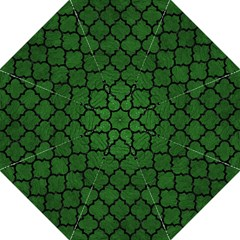 Tile1 Black Marble & Green Leather (r) Straight Umbrellas