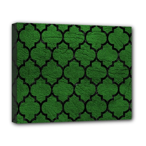 Tile1 Black Marble & Green Leather (r) Deluxe Canvas 20  X 16