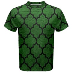 Tile1 Black Marble & Green Leather (r) Men s Cotton Tee