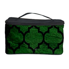 Tile1 Black Marble & Green Leather (r) Cosmetic Storage Case