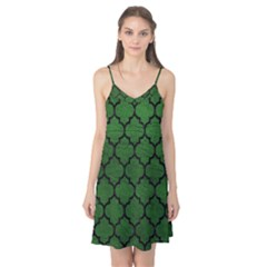 Tile1 Black Marble & Green Leather (r) Camis Nightgown