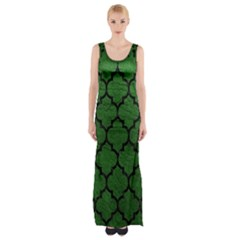 Tile1 Black Marble & Green Leather (r) Maxi Thigh Split Dress