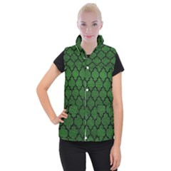 Tile1 Black Marble & Green Leather (r) Women s Button Up Puffer Vest