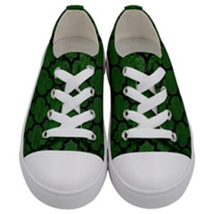 Tile1 Black Marble & Green Leather (r) Kids  Low Top Canvas Sneakers